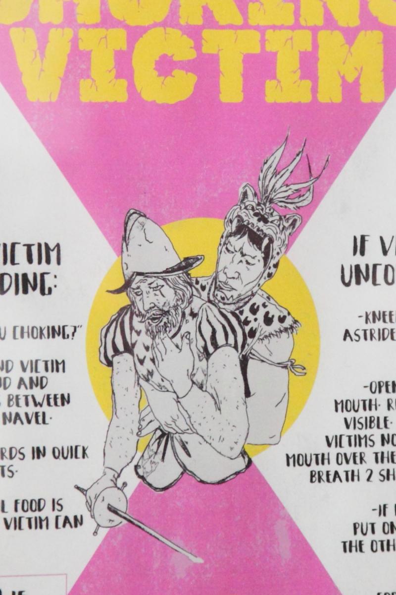 Montezuma's Rescue  nontraditional choking-victim poster (detail)  La Loncheria  Bushwick  Brooklyn