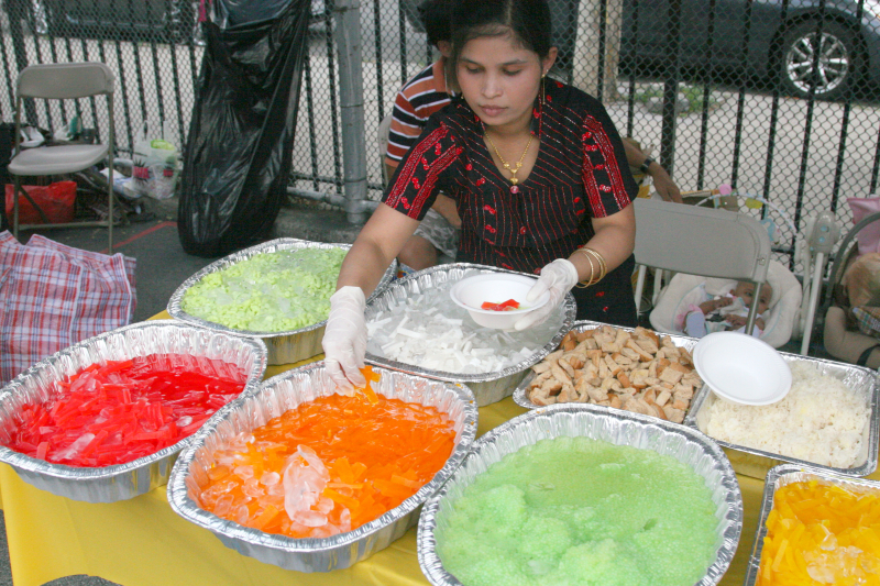 Assembling dessert  Rakhaing Thingyan Burmese New Year Water Festival  West 84th St  Manhattan
