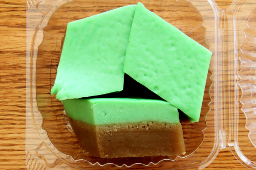 Pandan and palm sugar kueh  Little House Cafe  Elmhurst  Queens