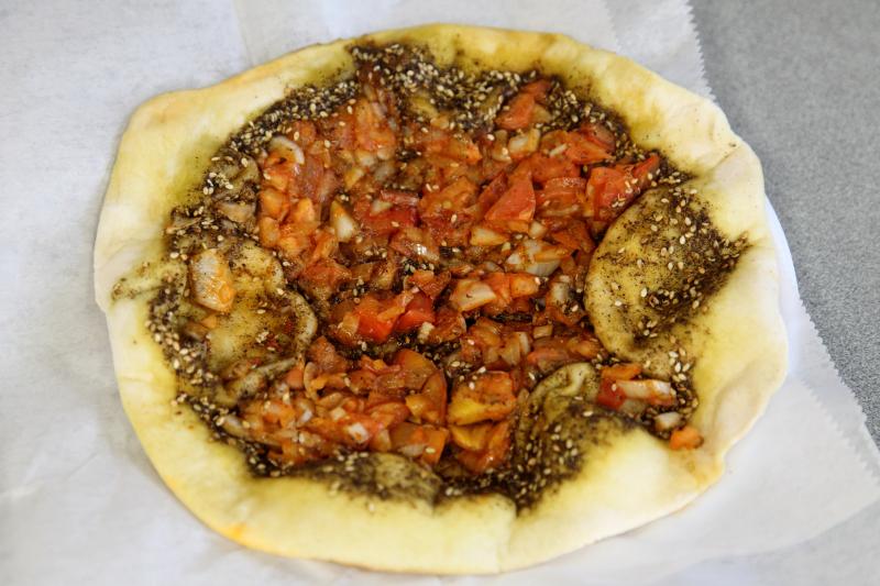 Zaatar-tomato-onion pie  Karam Restaurant  Bay Ridge  Brooklyn