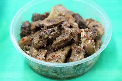 Pork heart  liver  kidney  and intestine  Kachin Traditional Food Fair  Elmhurst Baptist Church  Elmhurst  Queens