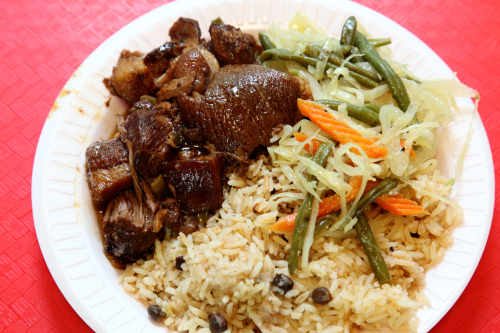 Stew pork and accompaniments  Caribbean Connection Catering Services and Restaurant  Edenwald  Bronx