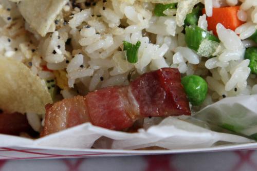 Breakfast fried rice (detail of thick-cut bacon)  Fan Fried Rice Bar  Bedford-Stuyvesant  Brooklyn