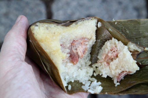 Pork zongzi (cutaway view)  Flushing  Queens