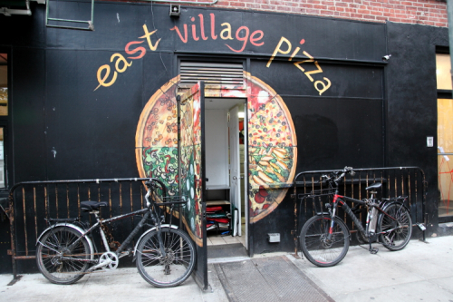 East Village Pizza (and color-coded message  eat a pizza)  hand-drawn artwork  East 9th St  Manhattan