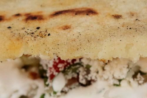 Gordita de chicharron (detail of crispy shell)  East 110th St  Manhattan