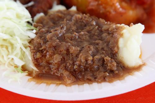 Mashed potatoes with goulash  Macedonian Food Festival  St Nikola Macedonian Orthodox Church  Totowa  New Jersey