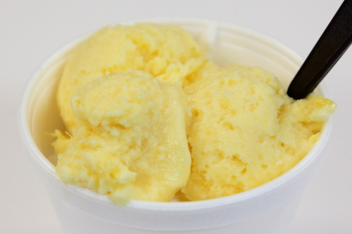 Pineapple cream ice (atop coconut)  Nano's Creamery  Passaic  New Jersey