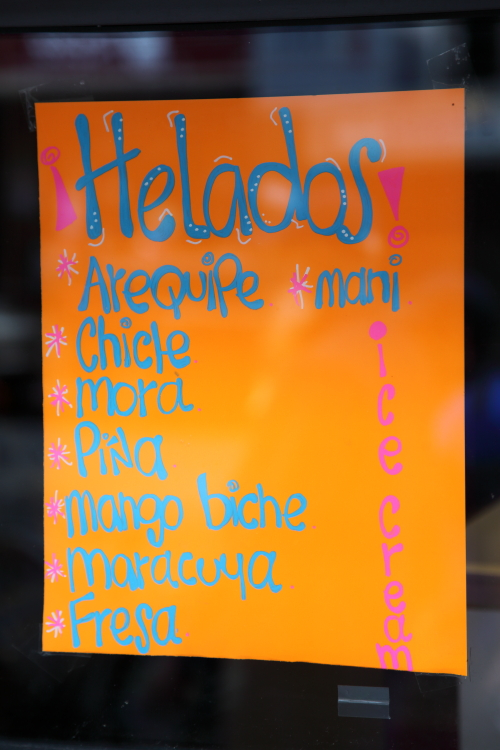 Helados  hand-lettered sign  Los Cafetales  Jackson Heights  Queens