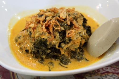 Sayur daun singkong  kale cooked in coconut milk  Upi Jaya  Elmhurst  Queens