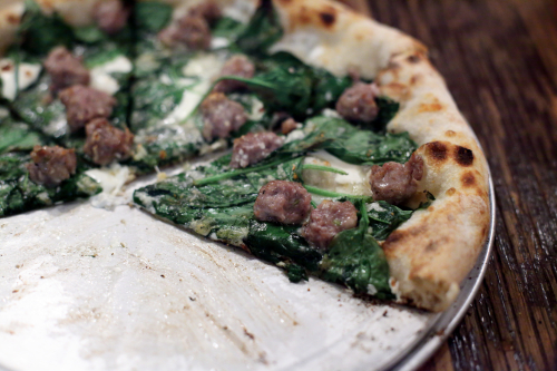 Spinach and sausage pizza  Wheated  Prospect Park South  Manhattan