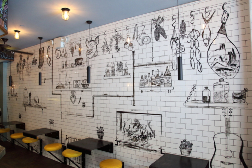 Dining-area mural (Sandra Perez  2018)  Harlem Industrial Kitchen  East 110th St  Manhattan