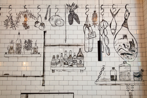 Dining-area mural (detail  Sandra Perez  2018)  Harlem Industrial Kitchen  East 110th St  Manhattan