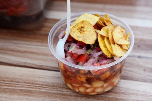 Cevichochos  vendor outside Our Lady of Sorrows Church  Corona  Queens