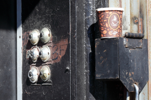 Door buzzers and coffee cup  Bedford-Stuyvesant  Brooklyn