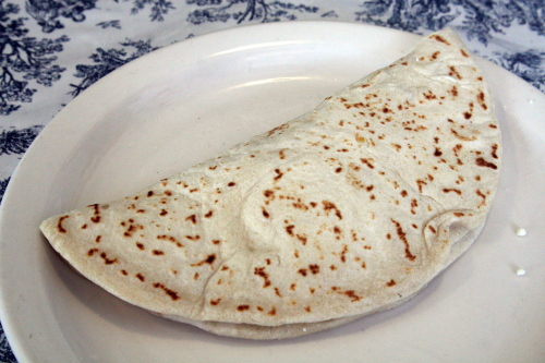 A baleada with beans  egg  cheese  and sour cream at Honduras Patio Restaurant  Bay Street  Staten Island