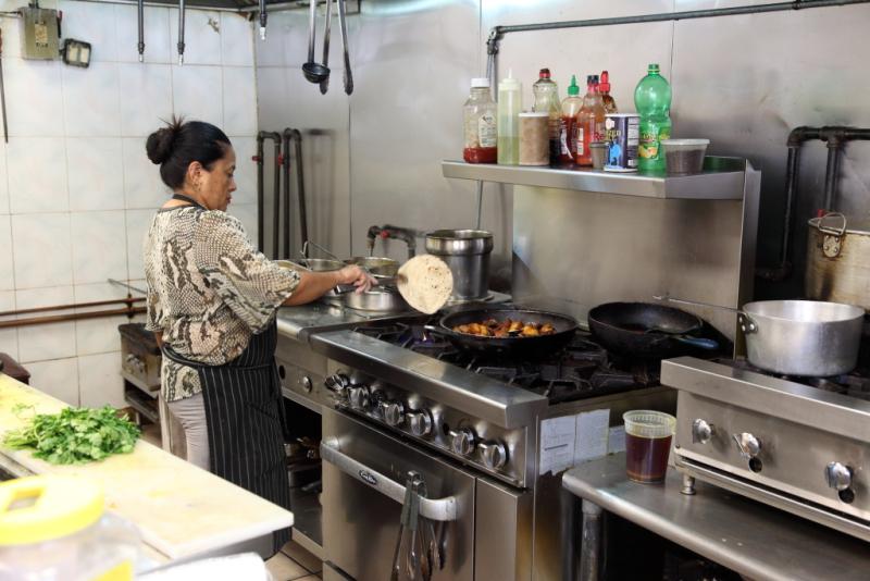 Yamuna Shrestha flipping a sukhi roti  Nepali Bhanchha Ghar  Jackson Heights  Queens