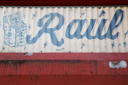 Pac-Man  hand-drawn signage (detail; Coyote  date unknown)  Raul Candy Store  Ave B  Manhattan
