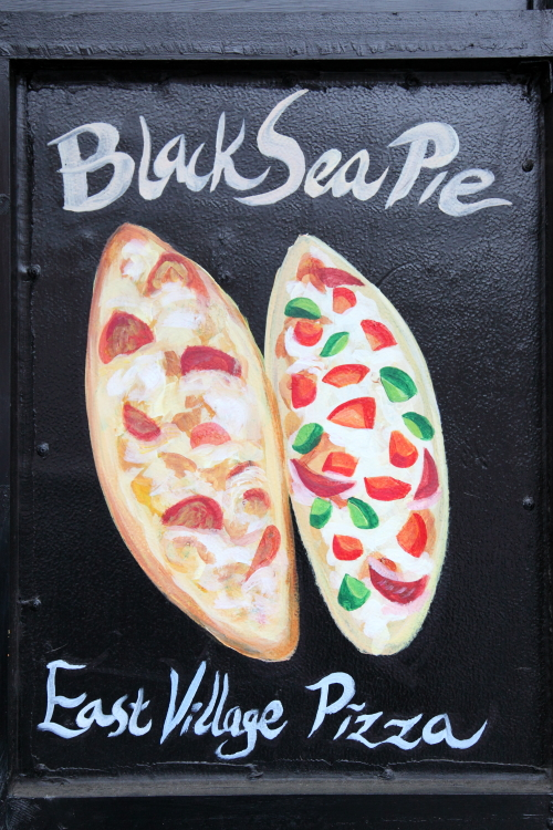 Black Sea pie  hand-drawn pide artwork  East Village Pizza  East 9th St  Manhattan