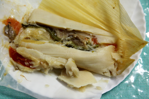 Tamal de rajas con hongos  Cenkali  La Marqueta Holiday Pop-Up Market  Park Ave  Manhattan