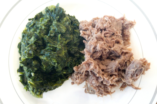 Morogo and seswaa (creamed spinach and pounded  shredded beef  Botswana)  UNAMA fundraising buffet luncheon  Consulate General of Nigeria  Second Ave  Manhattan