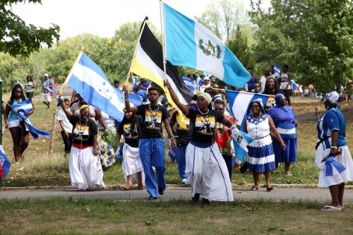Arrival of parade participants  Central American Festival  Crotona Park  Bronx