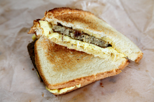 Scrapple-and-egg sandwich  The Seed  Lexington Market  Baltimore