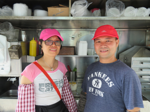 Natalie Wu and Lai Sheng Zhang  cheong fun (rice noodle) cart  Grand St  Manhattan