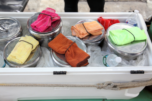 Color-coded nieve tubs  Jackson Heights  Queens