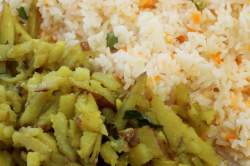 Potato fry and butter rice  Falguni Family Restaurant  Ditmas Park  Brooklyn