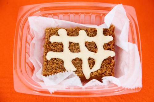 Sweet-potato crumb cake with sour-cream sauce  Penny's Pastries  Harlem Harvest Festival  St Nicholas Ave  Manhattan