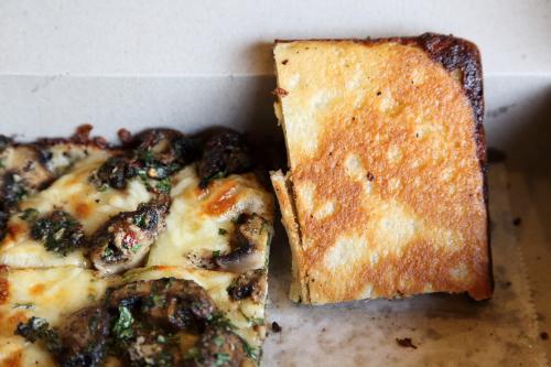 Mushroom pizza (underside)  Lions & Tigers & Squares  West 23rd St  Manhattan