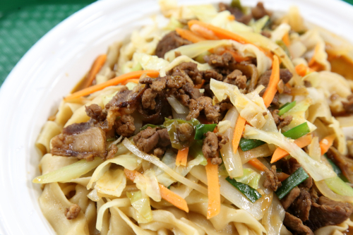 Stir fried cumin lamb noodles  Lanzhou Noodles  Super HK Food Court  Flushing  Queens