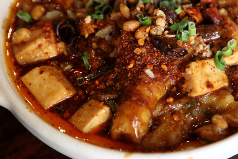 Slow-simmered fish with chiles and soft tofu  Spy C  Forest Hills  Queens