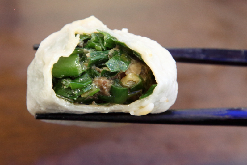 Beef-and-chive momo (biteaway view)  Lhasa Fresh Food  Elmhurst  Queens