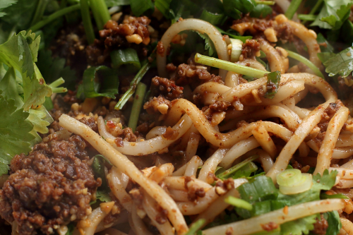 Shanghai-style noodles with minced pork  Mama's Noodle House  Bensonhurst  Brooklyn