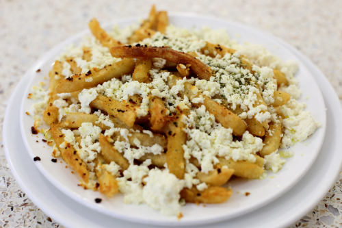 Greek fries (baked  with feta  oregano  and olive oil)  BZ Grill  Astoria  Queens