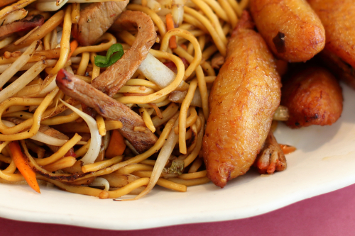 Lo mein and plantain  La Dinastia  West 72nd St  Manhattan