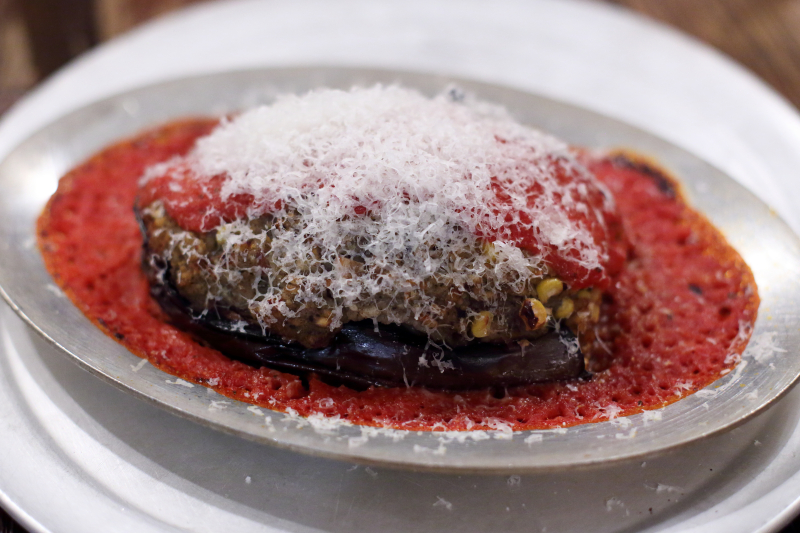Eggplant stuffed with risotto  dates  and sweet corn  Wheated  Prospect Park South  Brooklyn