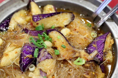 Eggplant and vermicelli casserole in XO sauce  OK Canaan  Flushing  Queens