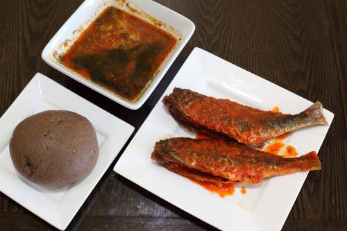 Gbegiri and ewedu with amala and croaker  Honey Bee's Kitchen  Canarsie  Brooklyn