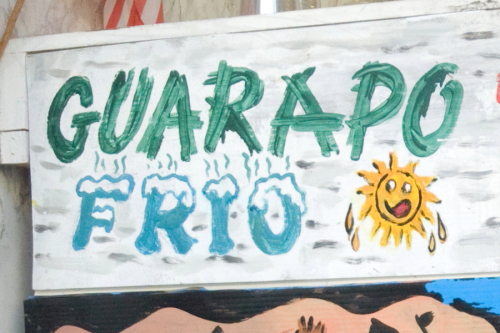 Guarapo frio with snowcapped lettering  hand-drawn sign (Leonard  2016)  Mr Mango  Union City  New Jersey