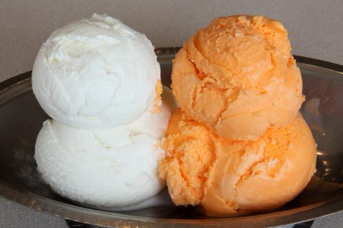 Vanilla ice cream and orange sherbert  Egger's  Staten Island