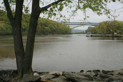 Henry Hudson Bridge seen from Inwood Hill Park  Manhattan