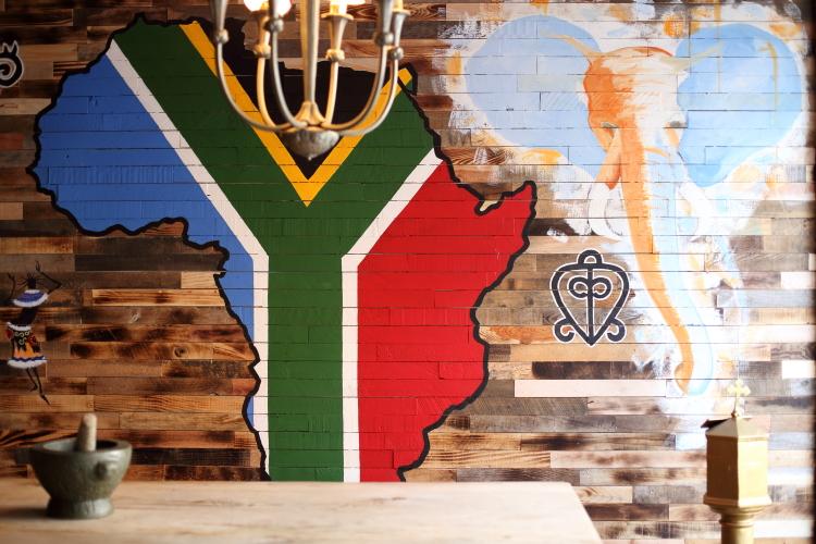 Mural in South African colors (detail)  Amandla  Bedford-Stuyvesant  Brooklyn