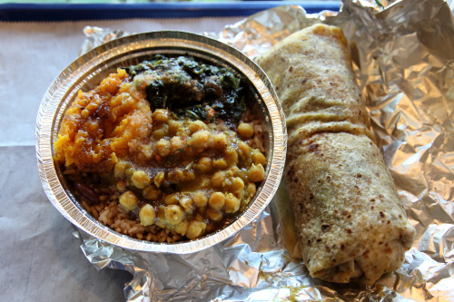 Veggie combo two ways  over rice and beans and inside a roti  Suzy's Roti  Prospect Park South  Brooklyn