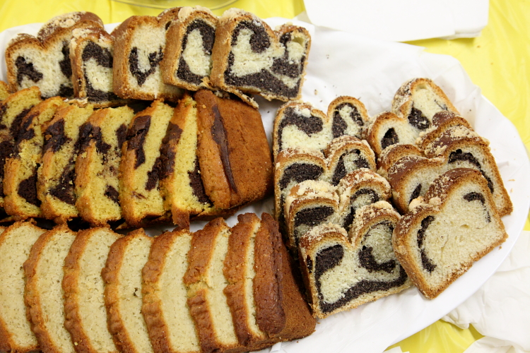 Poppy-seed  marble  and plain pound cakes  St Stanislaus Bishop & Martyr Church Flea Market  East 7th St  Manhattan