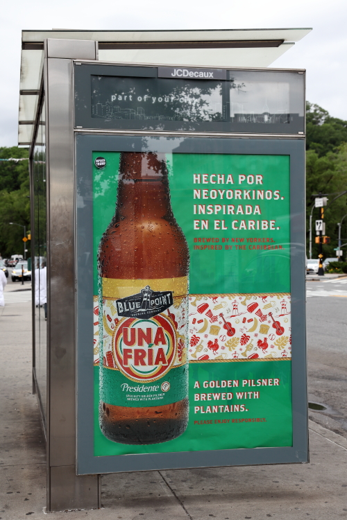 Una Fria  poster for a pilsner brewed with plantains  Inwood  Manhattan