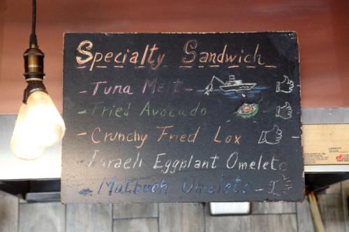 Specialty sandwich  hand-drawn sign  Williamsburg Bagel  Williamsburg  Brooklyn