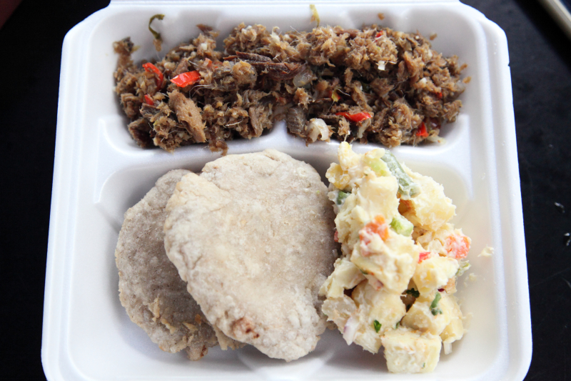 Smoke herring  madungo bakes  and breadfruit salad  GIPSVG Annual Culture Pot  Crown Heights  Brooklyn